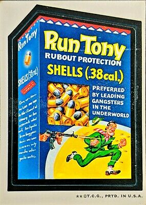 1973 Topps Wacky Packages RUN TONY Rubout Protection Shells Series 2 White Back