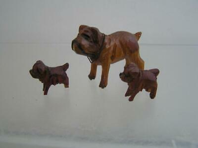 Vintage ANRI Hand Carved Wood Micro Miniatures Bull dog Mother with two pups