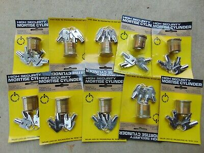 10  New High Security  Mortise Locks Cylinders  With  Key.