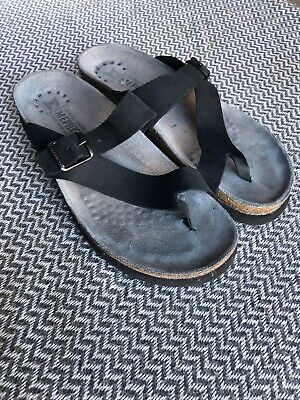 03dee20cf5b MEPHISTO HELEN Black Nubuck Leather Wedge Thong Sandals Shoes size US 7.5 8  38