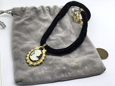 Gold Cameo Black Velvet Necklace White Vintage Style Victorian Gold Plated Photo