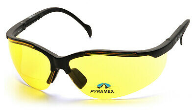 2d211a8f3c2ee Pyramex Venture 2.5 Yellow Bifocal Reader Safety Glasses Night Driving Sun  Z87+