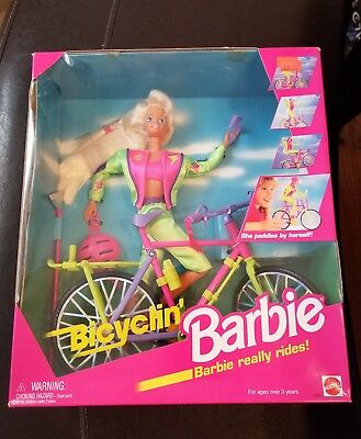 New Sealed 1995 Bicyclin' Barbie Doll Barbie Really Rides Mattel Blonde Hair