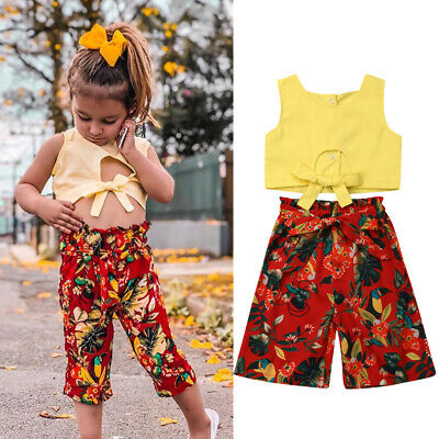 Fashion Girls Clothes Bird&Flowers Print Summer Outfits Kids Crop Tops+Pants Set
