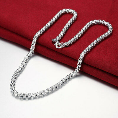 """Mens Womens 925 Sterling Silver 6mm Smooth Box Link Chain 20"""" Necklace #N214"""