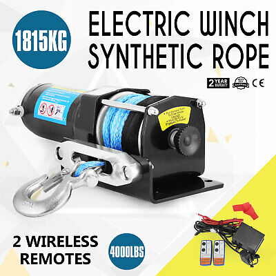 12V Wireless 4000LBS/1815KG Electric Winch Synthetic Rope ATV 4WD BOAT Hot