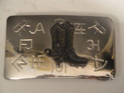 Chambers Buckle Co Cowboy's Boots Belt Buckle Cattle Branding Silver Tone USA