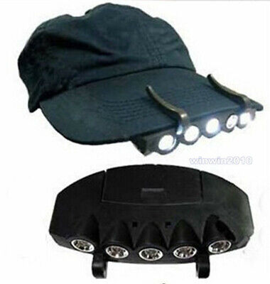 5New Clip-On LED Head Lights Lamp Cap Hat Camping Torch with Clip Hand FS