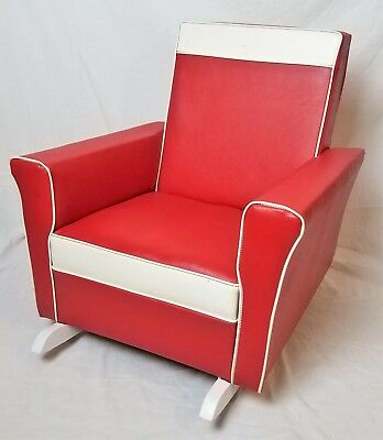 1960's Little Red Rocking Chair Cleaned Jonalia Furniture Child Rocker - Vintage
