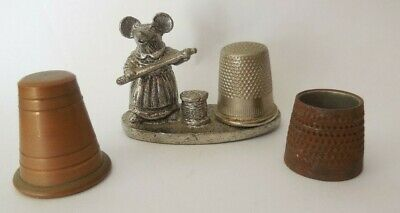 Collectable Vintage  thimbles metal craft decoration   mouse on stand retro
