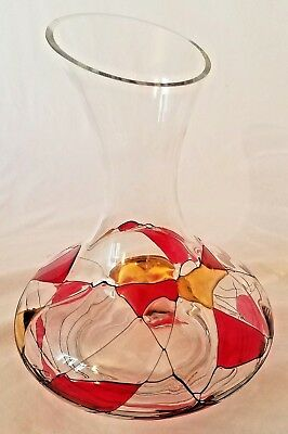 BEAUTIFUL Milano Romanian Red Wine Decanter Jug - Handpainted Swirl Gold Accent
