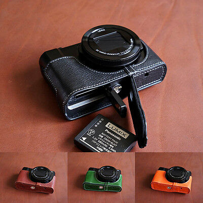 Genuine Real Leather Half Camera Case Bag Cover for Panasonic LX10 LX9 LX15