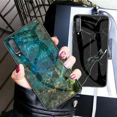 For Samsung Galaxy A6 Plus A7 A8 A9 2018 Hybird Marble Tempered Glass Case Cover