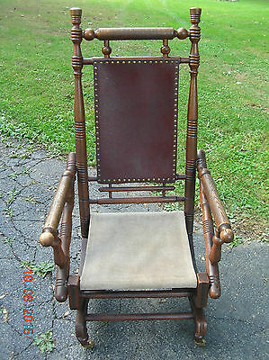 "ANTIQUE  SENG  CHICAGO  SPRING  PLATFORM  CARPET  ROCKER  LATE 1800's  ""NICE"""