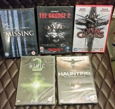 5 Horror Bundle Dvd New and Sealed Missing grudge 2 open graves Mimic 2 Haunting
