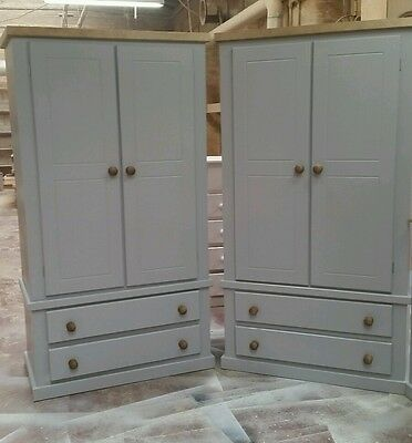 Handmade Aylesbury Next (Grey+Dark Oak) X2 2 Drawer/Door Wardrobe Not Flat-Pack