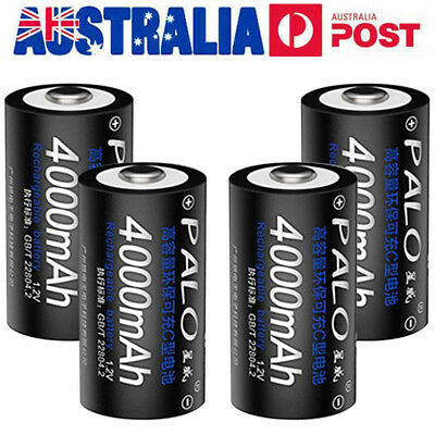4Pcs 1.2V 4000mAh1 C Size Battery Rechargeable C Batteries Replacement AU STOCK