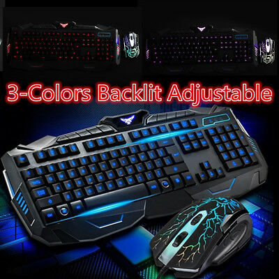 eccc555c90d Wired USB LED Gaming Keyboard Mouse Set Kit For Computer PC Multimedia Gamer