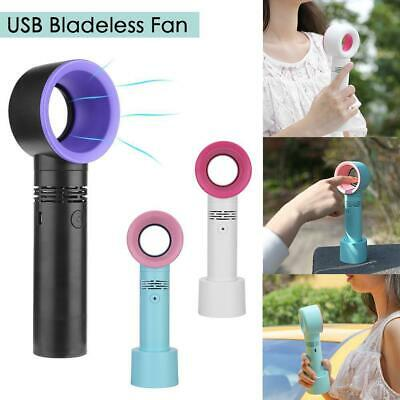 Portable Bladeless Hand Held Cooler 360 Degrees Mini USB Cable No Leaf Handy Fan