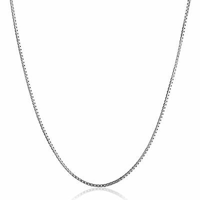 """Eternity Gold Box Chain Necklace in 10K White Gold, 20"""""""
