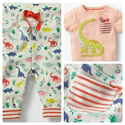 Ex Baby Boden Girls Pink Dinosaur Top & Reversible Joggers Trousers Set 6 - 24