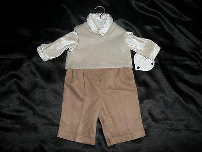 Boys 6-12Mths 2 Piece Outfit Designer Baby Darlings Creams/Beige Rrp £58.80% Off