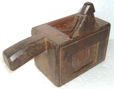 Vintage Old wooden Hand Carved Engraved beautiful unique box with sliding shuter