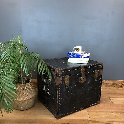 Antique Travelling Trunk Chest Box Coffee Table Storage Rustic Industrial