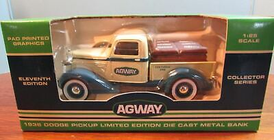 Vintage Agway 1936 DODGE PICKUP Truck Collectors Bank w/box DIE CAST 1:25 SCALE
