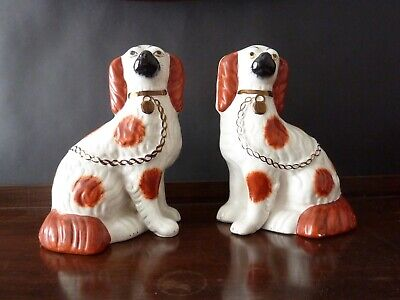 ANTIQUE KING CHARLES SPANIEL WALLY DOGS FIGURES APPROX h22,5cm, 19C