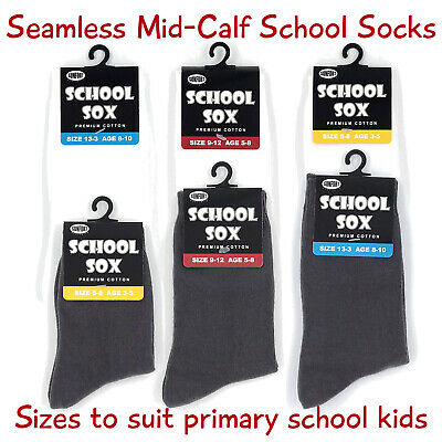 Seamless Premium Cotton Mid-calf School Socks, Kids Size, 6 Pairs, White or Grey