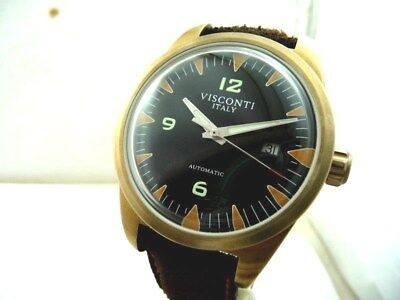 Visconti Roma (Rome) 60'S Marine Brass Watch New Collection! Box & Papers