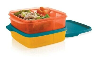 Tupperware Divided Lunch-It Dish Lunch Containers Set of 2 Brand New! Yellow