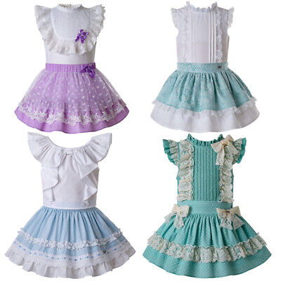Kid Girls Romany Dress Set Shirts + Tutu Skirts Outfit Bridesmaid Pagent Clothes