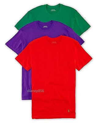 POLO RALPH LAUREN Classic Fit Cotton Crews Undershirts Men's Large L NEW 3 Pack