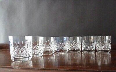"7 Stuart Crystal Glengarry Cut Small Whisky Tumblers, Signed, h3"" (7,7cm)"