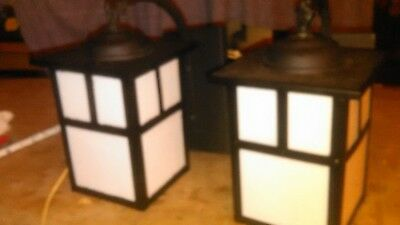 Pair Of Contemporary Arts & Crafts Mission Outdoor  Slag Glass Patio Lights