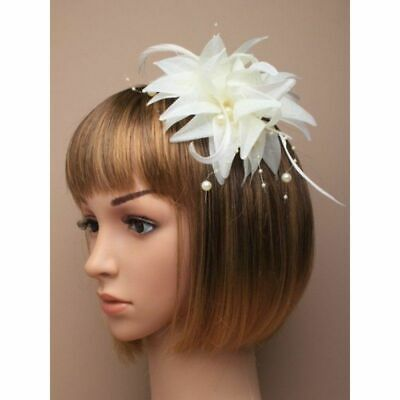 Cream Layered  Fabric Flower, Feather & Bead Fascinator on Spring Clip