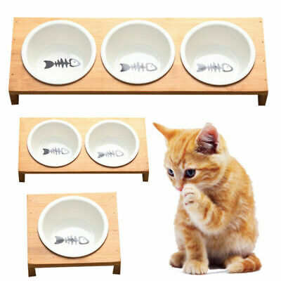 Pet Feeder Bowl Dog Cat Bamboo Ceramic Food Water Elevated Stand Dishes Supplies