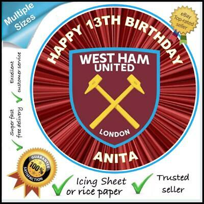 West Ham United Fc Personalised Edible Icing & Wafer Cake & Cupcake Toppers