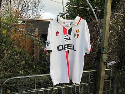 Vintage Lotto AC Milan 1995-96 Coppa Italia Opel Away (L) Football Shirt Weah #9