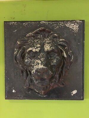 Large Stone Lion Plaque Head wall Art Architectural Salvage Interior Design