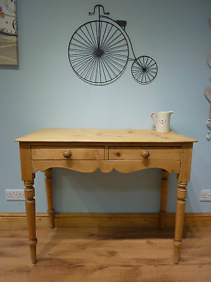 Vintage Victorian Antique Pine Old Desk Side Console Hall Table With Drawers