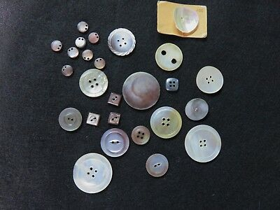 Assortment of 26 Mother of Pearl Sewing Buttons. Shell Sequins, 2- & 4-Hole