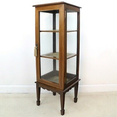 Antique Edwardian Mahogany & Satinwood Crossbanded Bijouterie Display Cabinet
