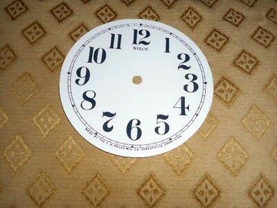 For American Clocks-Round Welch Paper Clock Dial-123mm M/T-GLOSS WHITE-Spares #