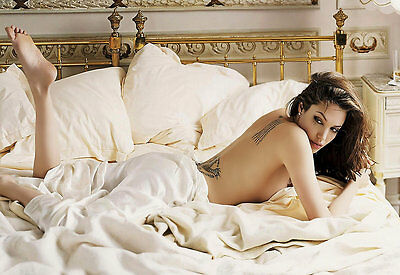 ANGELINA JOLIE IN UNDERWEAR AND STOCKINGS ON TOILET POSTER Art Print Photo A3 A4