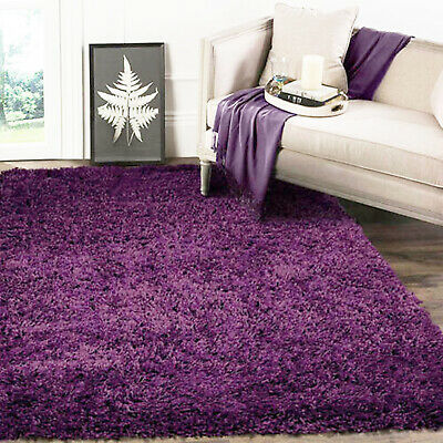 Purple Thick High Pile Plain Soft Non-Shed Shaggy Rugs Small X Extra Large