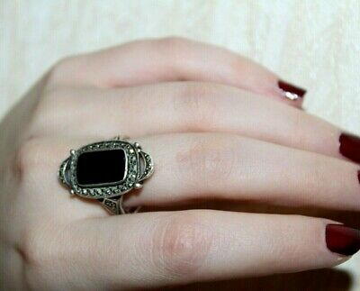 RARE Antique Imperial Russian Silver 84 Ring marcasite Onyx 19th Century