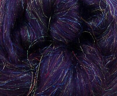 4 Ounces Merino Wool//Nylon Combed Top//Roving Moss Agate Sparkle FREE SHIPPING
